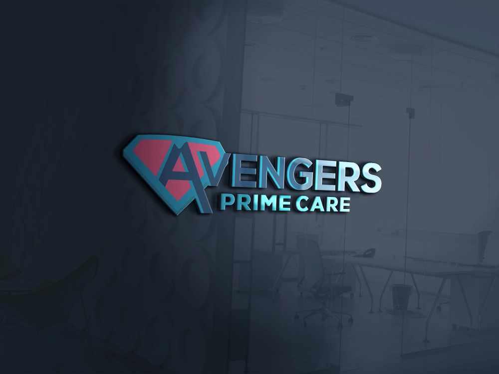 Avengers Prime Care Logo 3D Mockup web