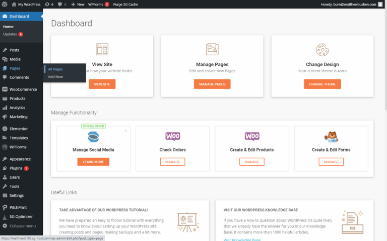 Screenshot of the dashboard within WordPress