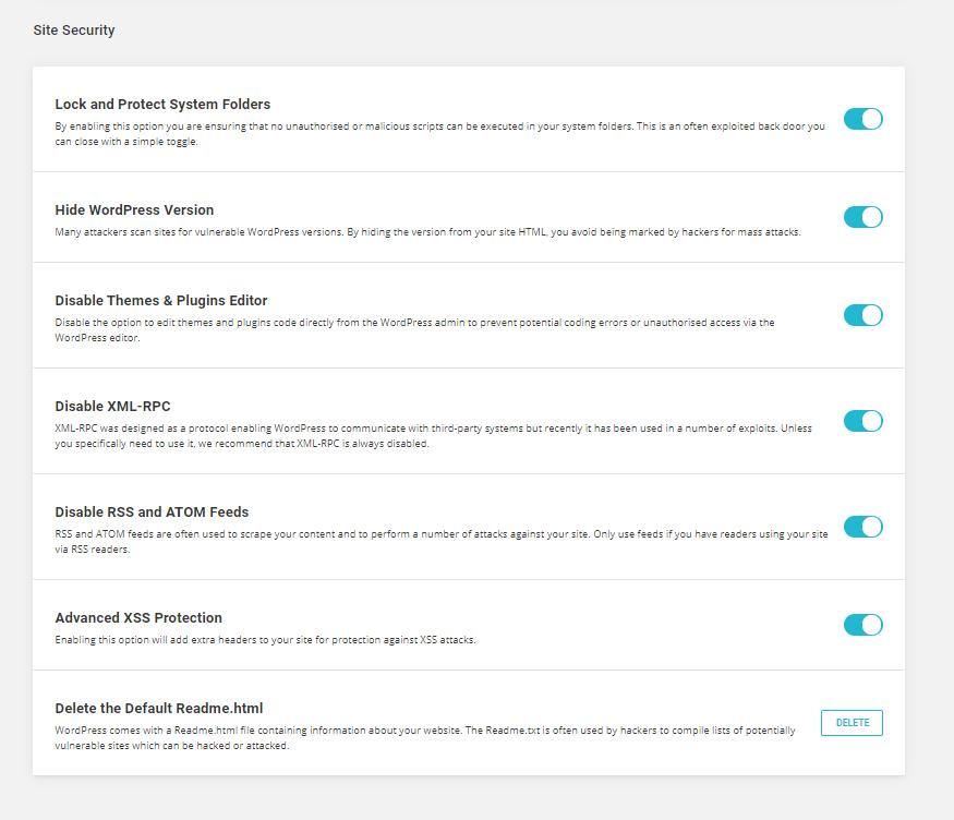website security SiteGround security plugin screenshot