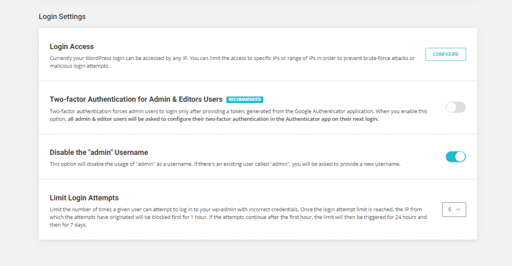 SiteGround website security login security tools screenshot